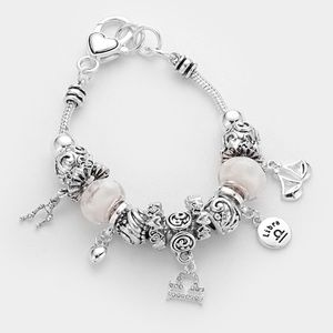 Multi Bead Antique Style Libra Charm Bracelet
